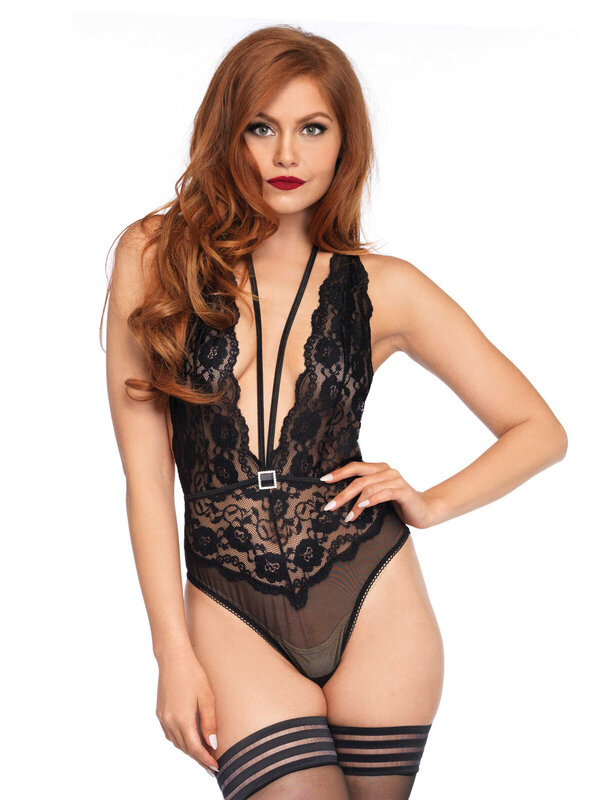 Body Leg Avenue 89191 Floral lace deep V teddy