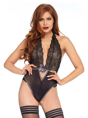 Body Leg Avenue 89213 Lurex lace halter teddy