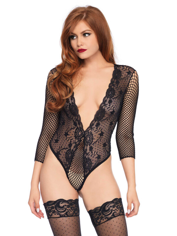 Body Leg Avenue 89220 High cut lace and net teddy