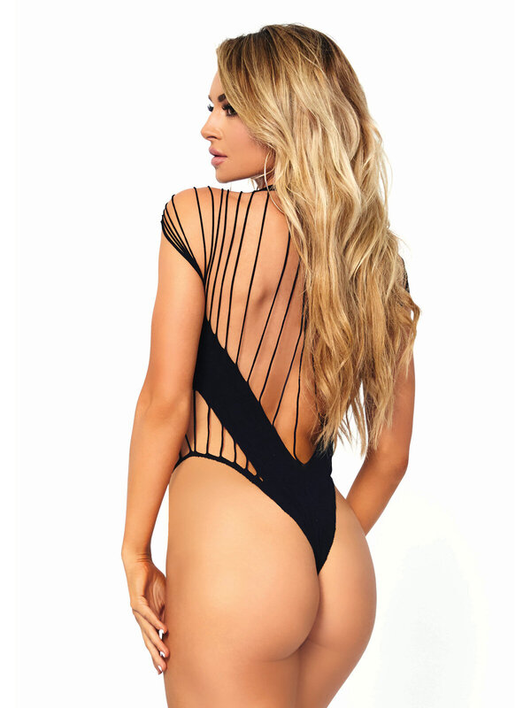 Body Leg Avenue 89222 Shredded opaque cut out teddy