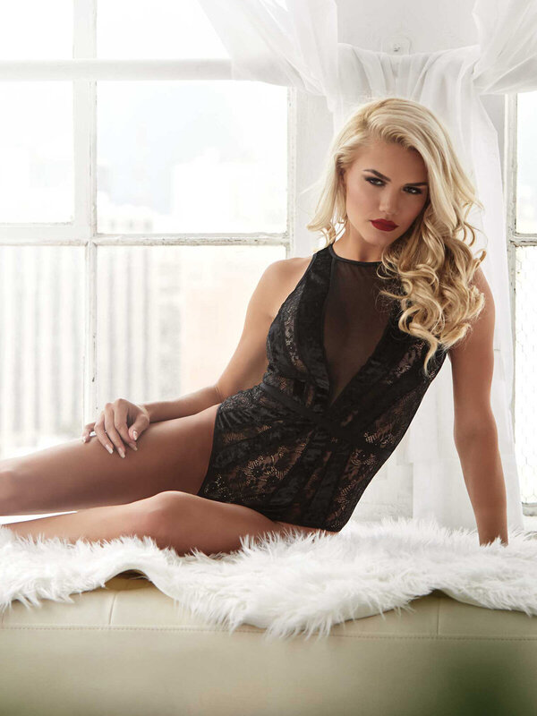Body Leg Avenue 89236 Lace teddy with snap crotch
