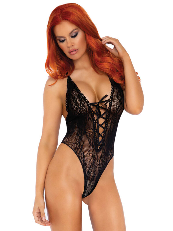 Body Leg Avenue 89248 Floral lace thong teddy