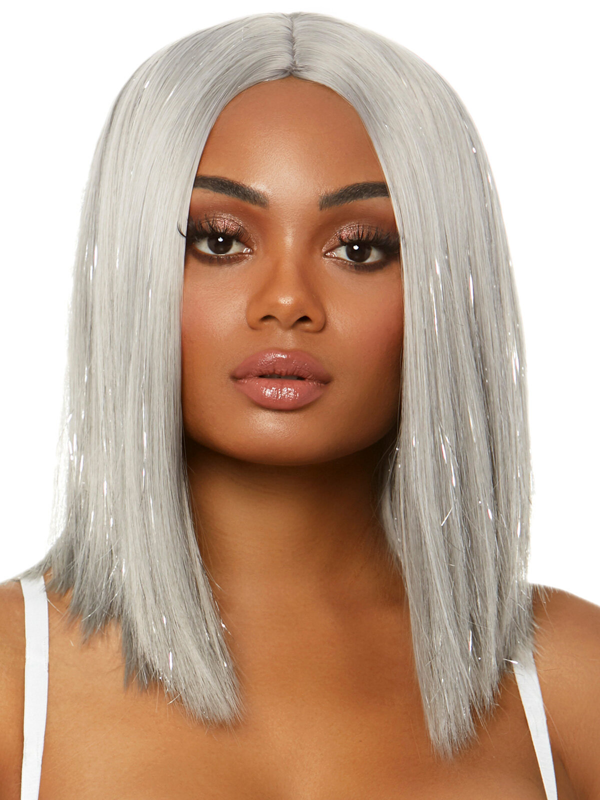 Peruca A2863 Long bob wig with tinsel Gri