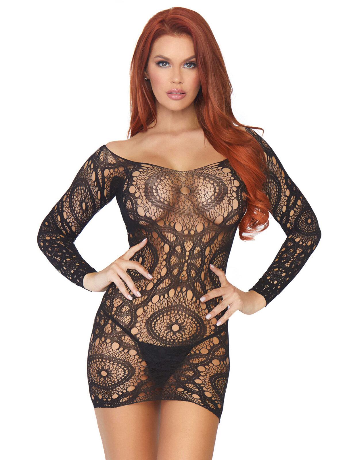 Chemise 86794 Negru 86794 Lace long sleeved mini dress