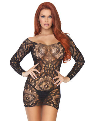 86794 Lace long sleeved mini dress