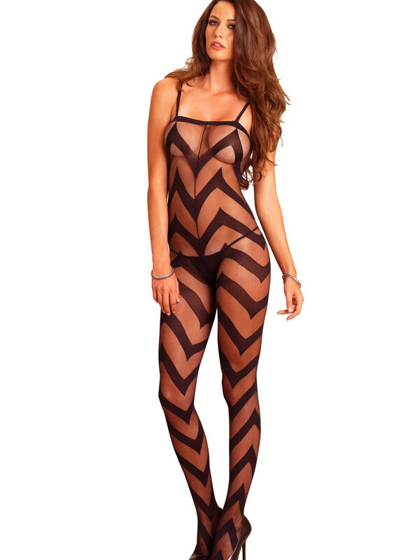 Catsuit Leg Avenue 89132 Sheer chevron bodystocking