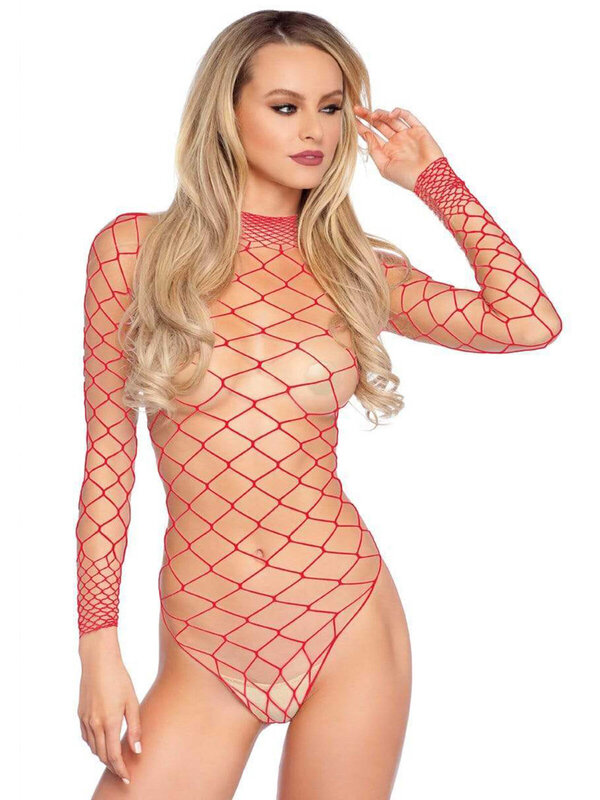 Body Leg Avenue 89210 Turtleneck fishnet teddy