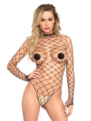 89210 Turtleneck fishnet teddy
