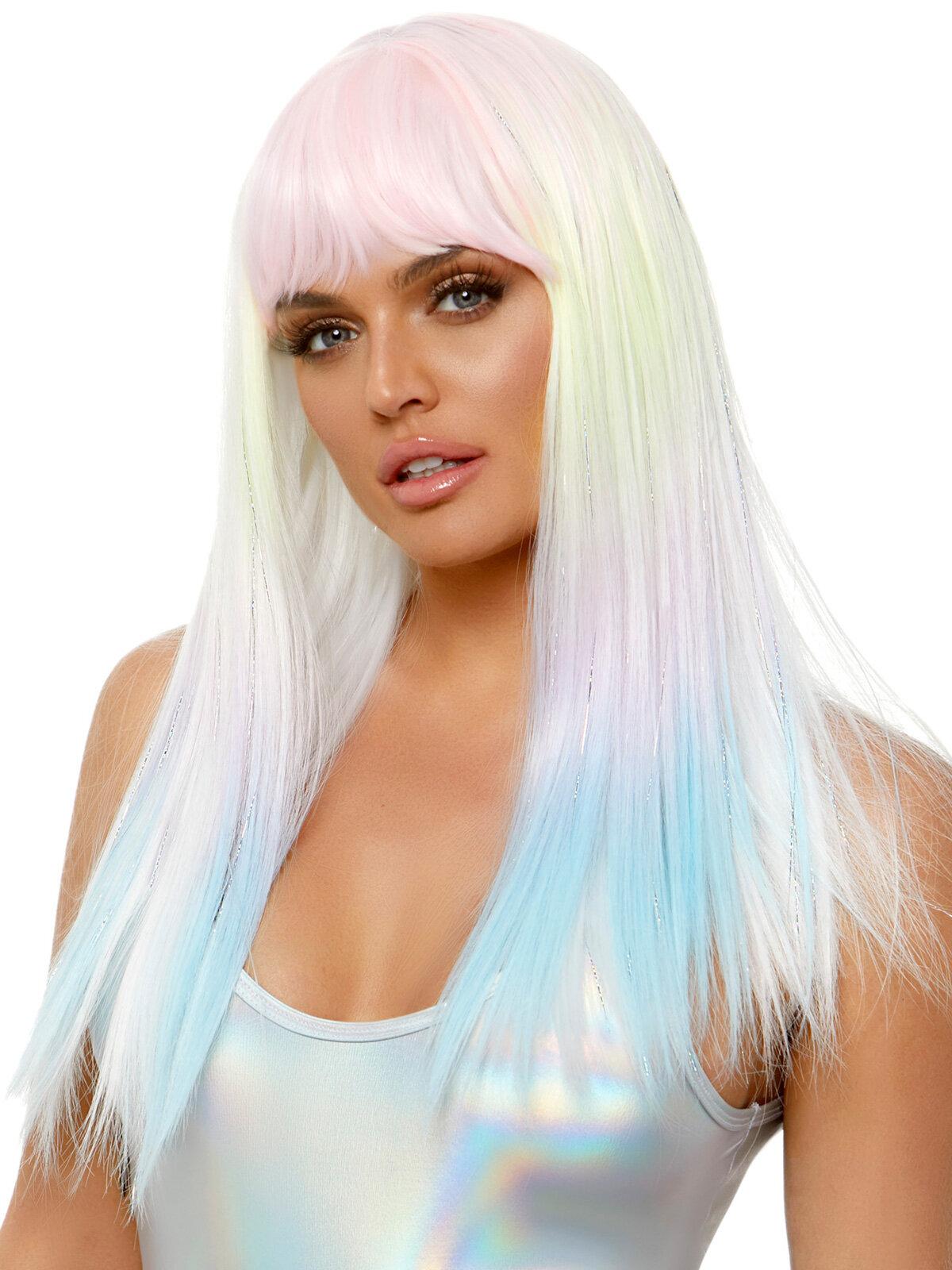 Peruca Straight bang pastel ombre wig Gri LAA2855