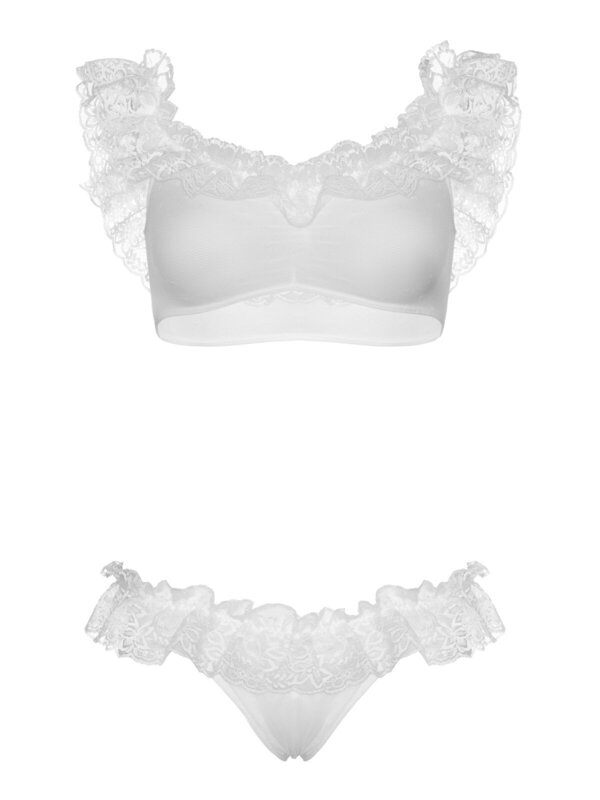Set sexy Leg Avenue 81616 Lace ruffle crop top and panty